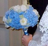 Blue hydrangeas White tulips bridal bouquet