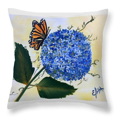 Butterfly Kisses Hydrangea  - Throw Pillow