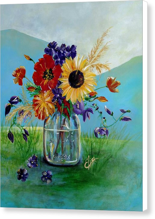 Flowers In A Mason Jar - Canvas Print