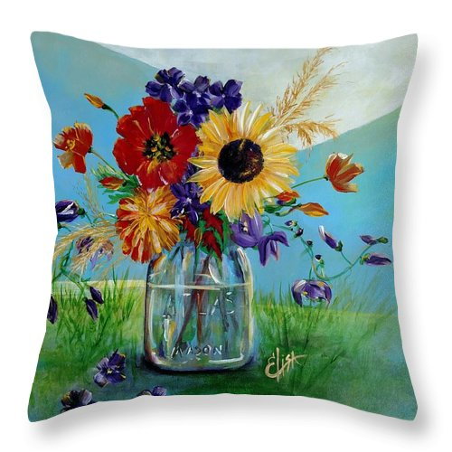 Flowers In A Mason Jar - Throw Pillow