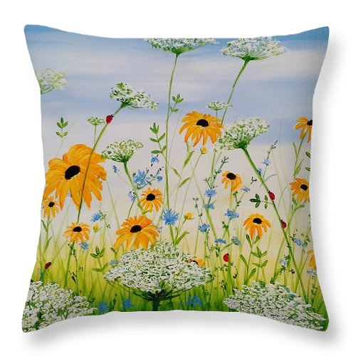Whimsical Wildflowers - Throw Pillow