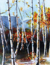 White Birch Tree Mountain Landscape - Art Print