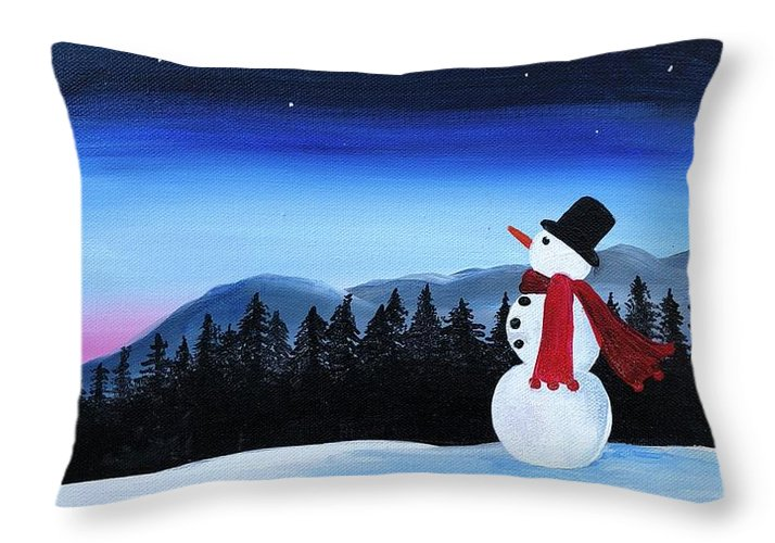 Winter wonderland snowman - Throw Pillow