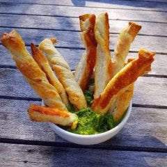Anchovy Twists with Salsa Verde