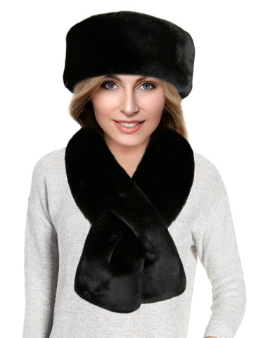 faux fur scarf set in black
