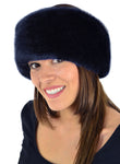 luxury faux fur headband in blue