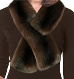 Pull Through Faux Fur Scarf - Mahogany Mink