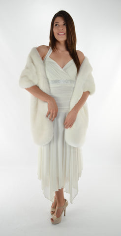 Faux Fur Long Stole - Ivory