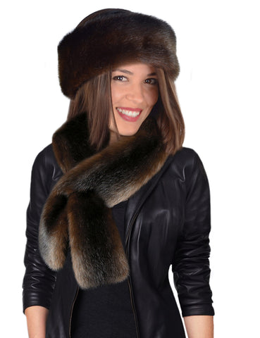 Faux Fur SCARF SET - 2 PC - Headband & Scarf - Mahogany Mink