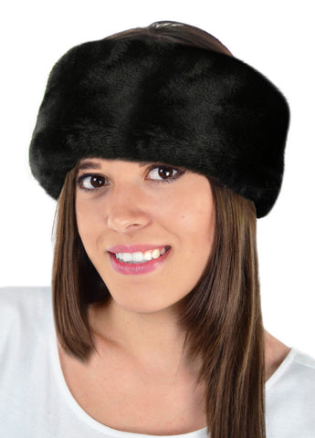 black beaver faux fur headband