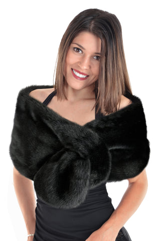Faux Fur Stole  - Black Sable