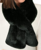 Faux Fur SCARF SET - 2 PC - Headband & Scarf - Black Sable