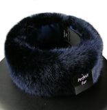 blue faux fur headband - closeup