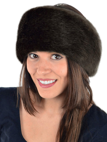 luxury faux fur headband in brown