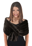 Faux Fur Shoulder Stole  - Brown Grooved