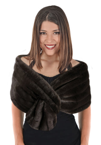 Faux Fur Shoulder Stole  - Grooved Dark Brown