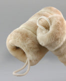 faux fur muff - beige - closeup