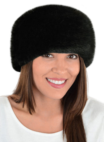 luxury faux fur headband in black