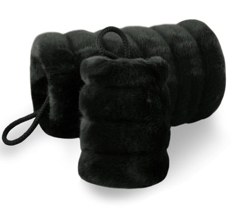black faux fur muffs - grooved fur