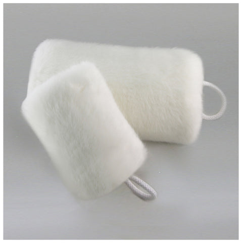 white faux fur muff