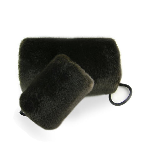 brown faux fur muff