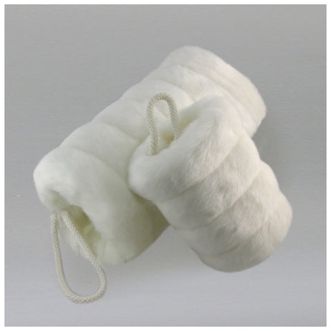 Faux Fur Muff - Winter White Grooved