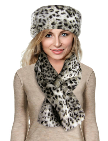 faux fur scarf set snow leopard
