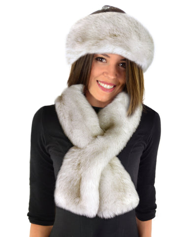 Faux Fur SCARF SET - 2 PC - Headband & Scarf - Winter Wolf