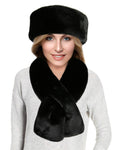 faux fur scarf set black beaver