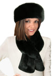faux fur scarf set black sable