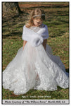 flower girl white faux fur wrap