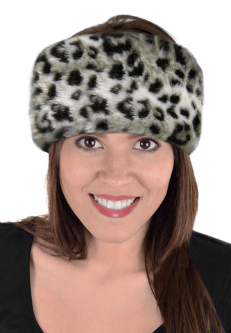 snow leopard faux fur headband