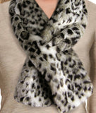 snow leopard faux fur scarf closeup