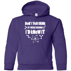 Don't You Think If I Were Wrong I'd Know It? Youth Science and Math Hoodie