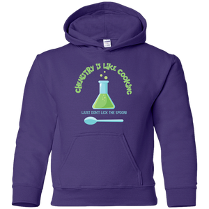 Chemistry Is Like Cooking, Just Don't Lick The Spoon. Youth Science Hoodie