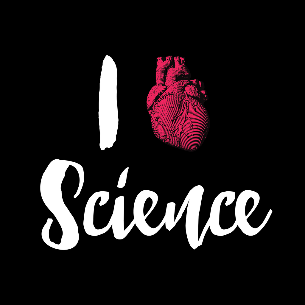 I Heart Science. Woman's Science Tee Shirt
