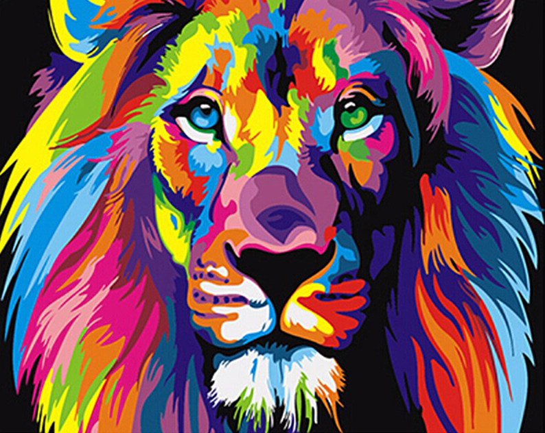 Colorful King Of The Jungle Paint-By-Numbers Creative Project