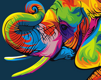 Vivid Color Elephant Paint-By-Number Creative Art Project. 3 Sizes
