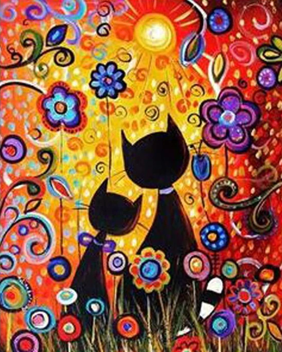 Colorful Cats In Love Paint-By-Number Creative Art Project