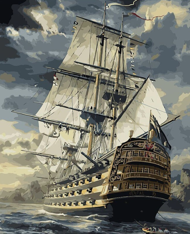 Majestic Sailing Ship Paint-By-Numbers Creative Art project