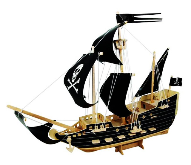 Yo Ho Ho The Black Pirate. 3D Wooden Ship Puzzle. Challenging Fun For All