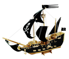 Load image into Gallery viewer, Yo Ho Ho The Black Pirate. 3D Wooden Ship Puzzle. Challenging Fun For All