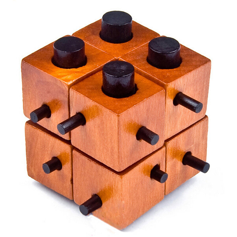 Challenging Wooden Puzzle. 8 Pieces Lock Into Place - But How?