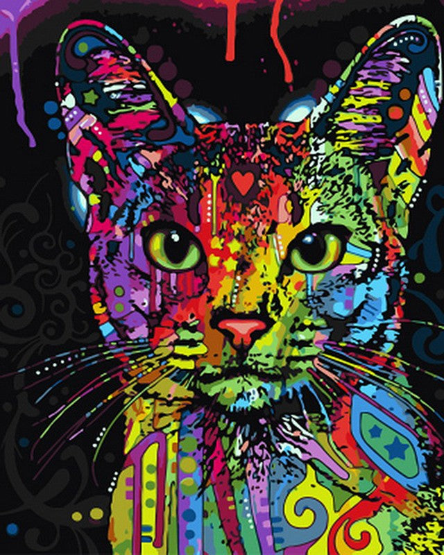 Colorful Cat Paint-By-Number Creative Art Project