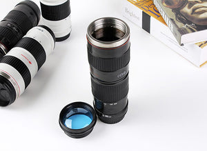 Camera Lens Stainless Steel Thermos. Big 15 Ounces For That Long Drive To Work