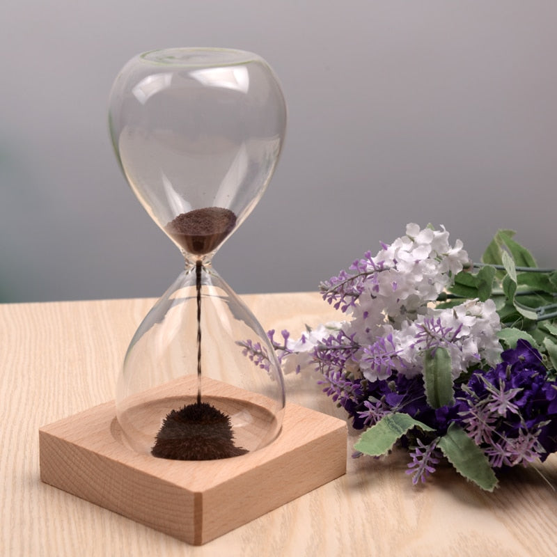 Hand-Blown Magnetic Hourglass - Great Addition To Your Desk