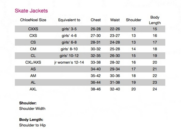 ChloeNoel Jacket Sizing
