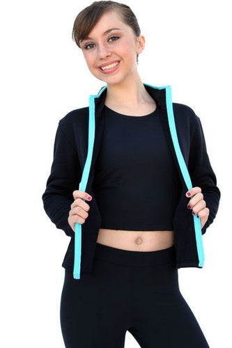 J48 ChloeNoel Coloured Zipper Fitted Polar Fleece Jacket - Turquoise