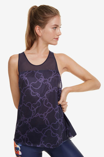 Desigual Blue Camo Flower Tank Top