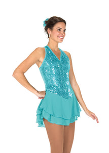 J244/18 Tiffany Blue Sequin Garden Dress - Child 12-14